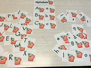 Apple-Themed-Alphabet-Cards-53-Laminated-Card-Set-Pre-school-Kindergarten