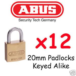 Padlock KEYED ALIKE ABUS 20mm  x12  BULK LOT High quality