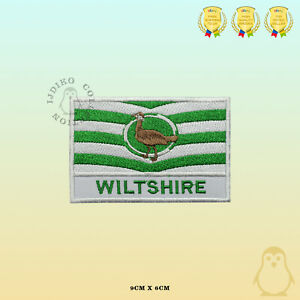 WILTSHIRE County Flag With Name Embroidered Iron On Sew On Patch Badge