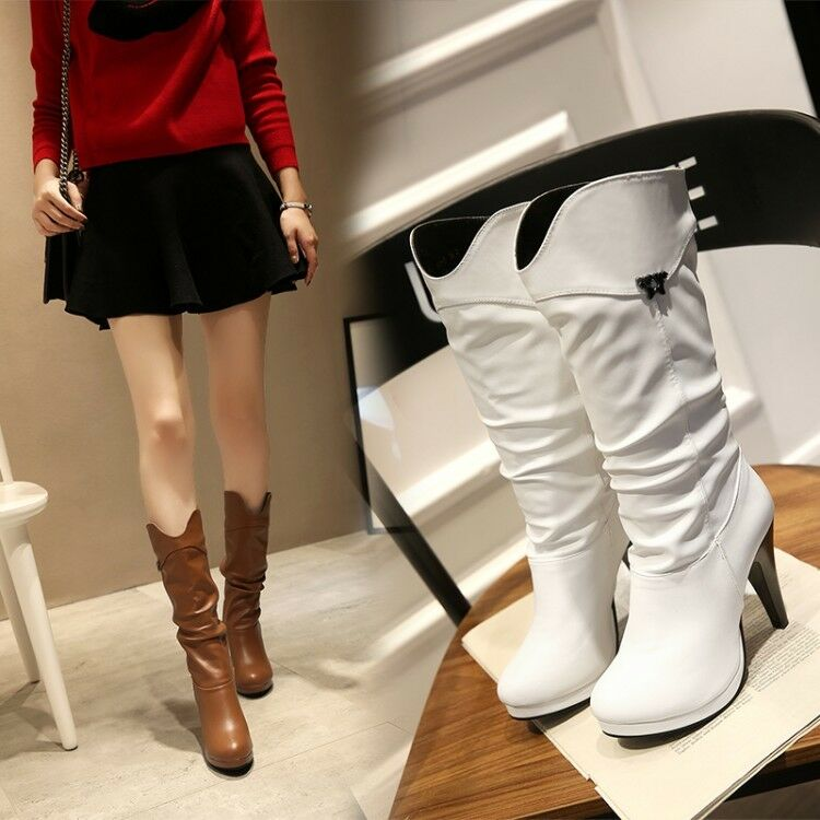 Women's Mid-Calf Slouch Boots Platform High Heels Round Toe Casual shoes Plus Sz