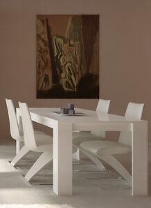 Details about Tavolo sala da pranzo Dimensioni 180 x 90 x 77 Colore Bianco  Laccato