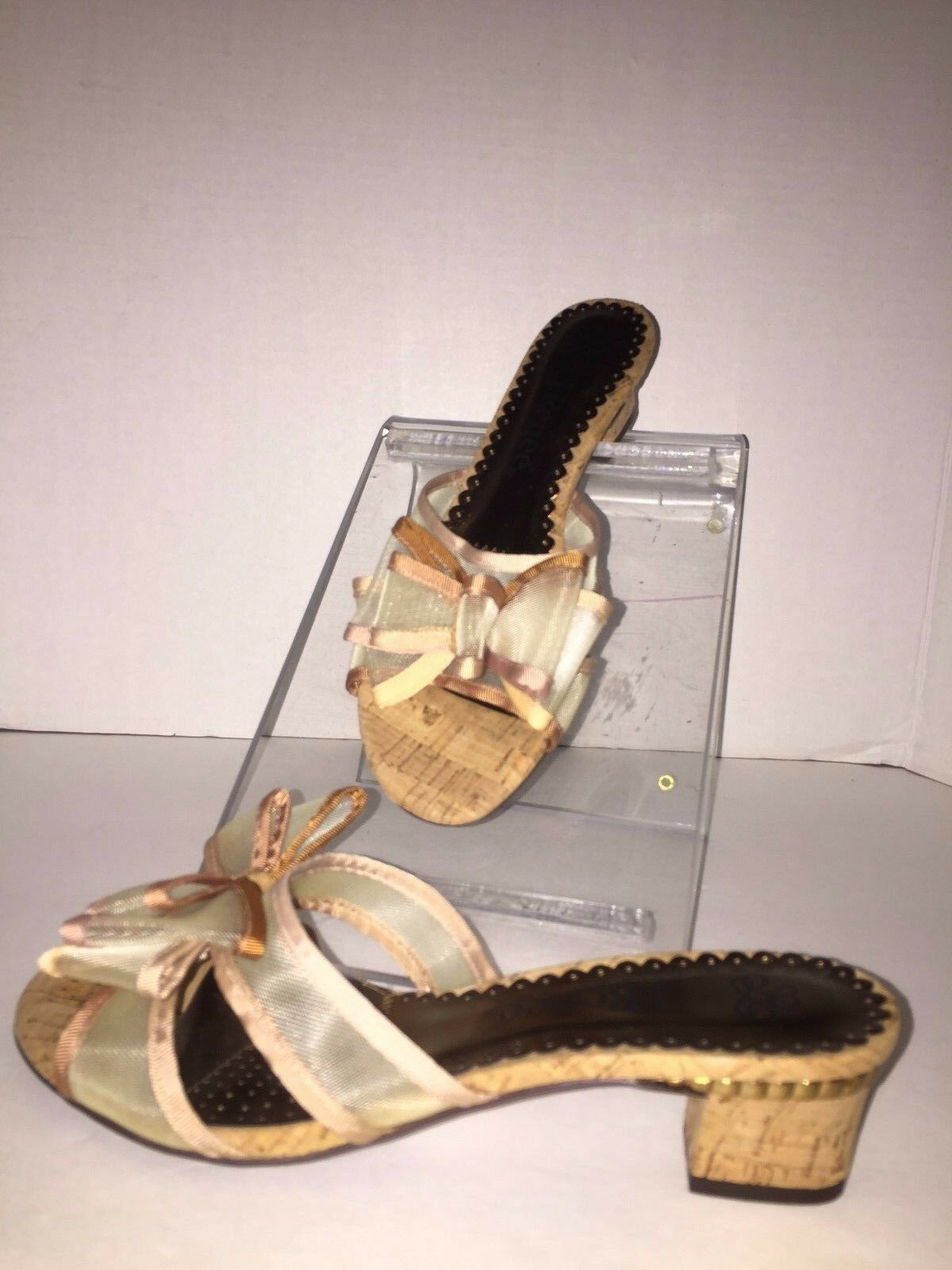 J Renee Freesia Natural Braun Cork Mesh Slide Sandaleen 7