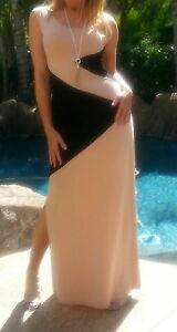 Maya Antonia-PLUS SIZE Black-Grey-Nude-White Chevron Color-Block Maxi Skirt
