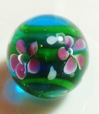 "HANDMADE GLASS MARBLE FLORALS ""WATER LILY""  22mm SHOOTER"
