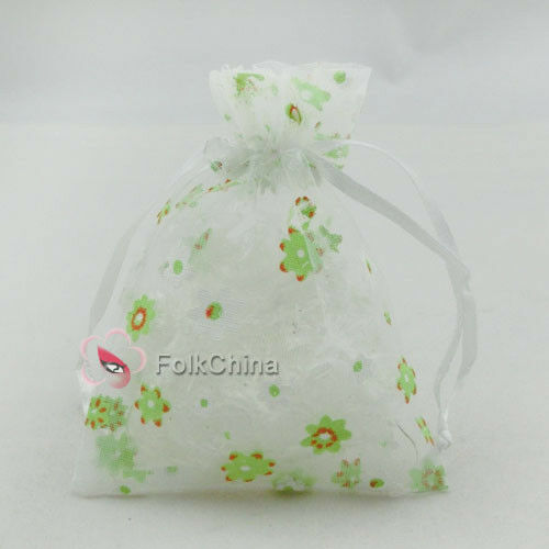 White Flower Green Organza Wedding Favour Gift Bags Pouches 7x9,9x12,13x17cm