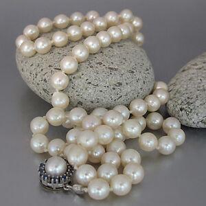 Perlenkette-Collier-mit-ca-0-30ct-Saphir-an-585-14K-Weissgold-Verschluss