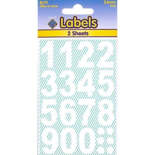 Blanc Vinyle Autocollants Weatherproof chiffres Numérique étiquettes-Pack 24