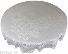 "WHITE HEAVY LACE ROSE SCALLOPED STAIN RELEASE 36"" - 90CM ROUND TABLE CLOTH"