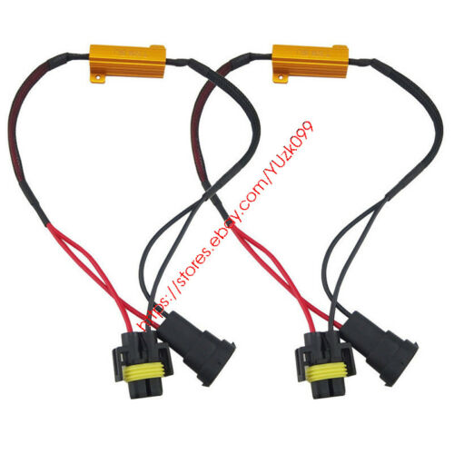 2x H11 H8 LED Light Fog Xenon HID No Error Load Resistor Wiring Harness Adapter
