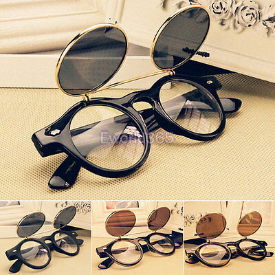 Retro 50s Style Cosplay Welding Round Steampunk Cyber Flip Up Blinder glasses