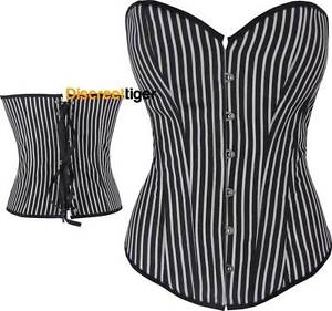 Corset-Top-Steampunk-Thin-Stripes-White-Black-Satin-Gangster-Costume-DTS00095