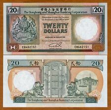 Hong Kong, $20, 1991, HSBC, P-197b, UNC > Lion