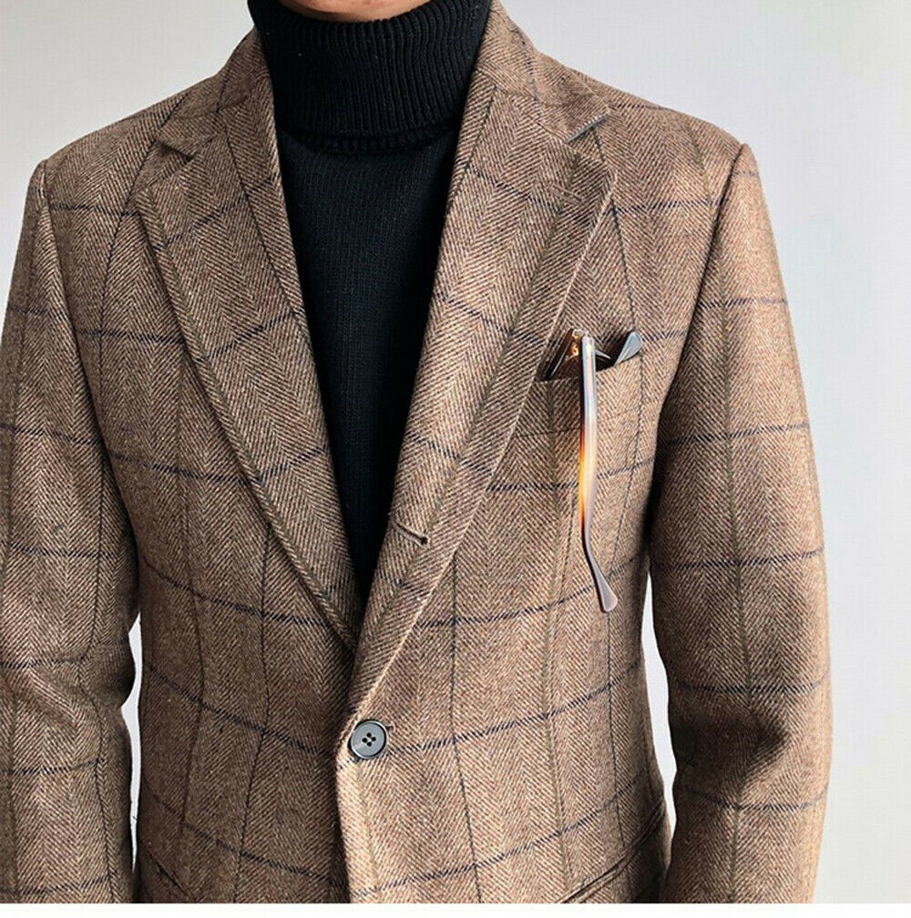 Men's Brown Wool Checkered Plaid Suit Formal Business Vintage Blazer Tailored