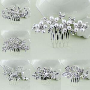 Silver Bridal Floral Hair Combs Diamante Crystal Rhinestone Pearl Wedding Party