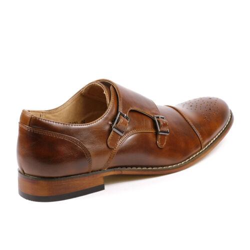 Metrocharm MC100 Men/'s Perforated Cap Toe Double Monk Strap Slip On Dress Shoes