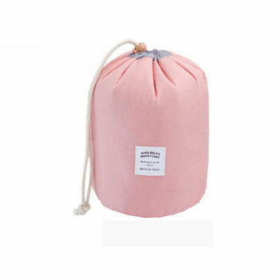 Women Makeup Drawstring Pouch Bucket Barrel Shaped Cosmetic Bag Travel Case Q
