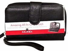 FAT WALLET Mundi Women ALL IN ONE Faux Leather ID Card Ladies Clutch Black I560X