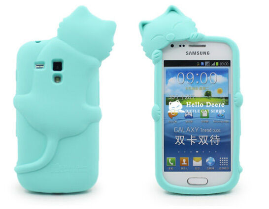 Cute 3D Cat Soft Silicon Cover case fr Samsung Galaxy Trend Plus / S7580 / S7582