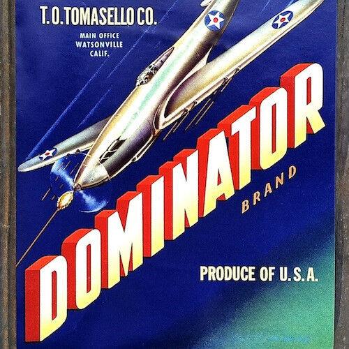 Vintage Original 1940s DOMINATOR VEGETABLE Can Label Bomber Plane Labels NOS