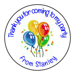Image Is Loading 24 Gloss Blue Balloons Personalised Thank You Sticker
