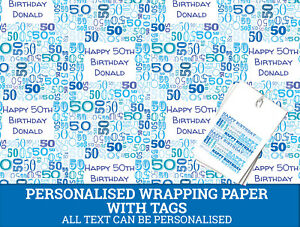 Image Is Loading Personalised Blue Happy 50th Birthday Wrapping Paper Male