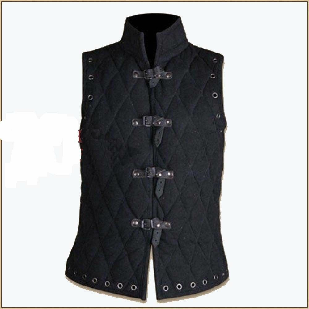 Thick black color Gambeson Medieval Padded collar sleevesless armor