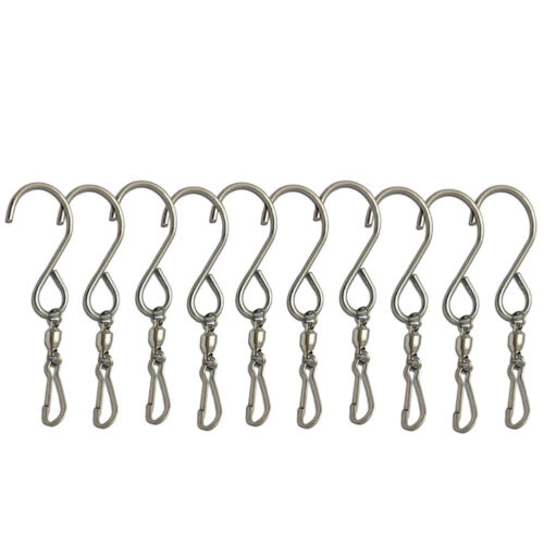 GOGO 10 Pack Turn Twirl Swirl Swivels Dual Clip for Hanging Wind Spinners Wind