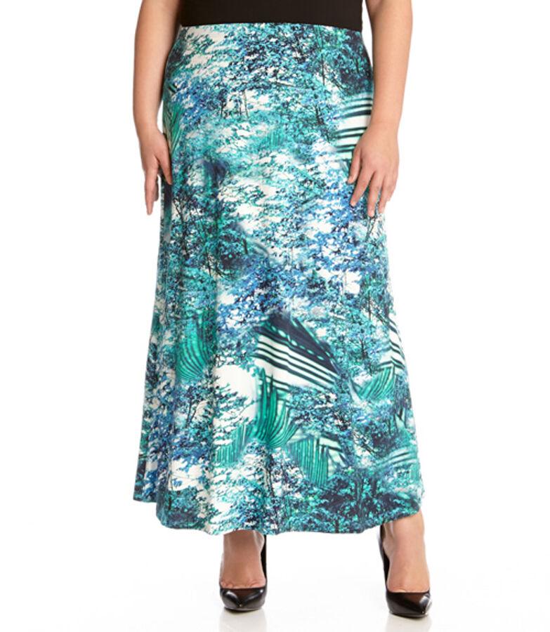New Women's Karen Kane Plus Size Green bluee Palmilla Print Maxi Skirt Size 0X