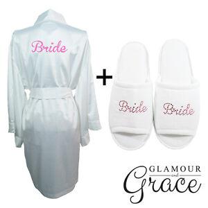 White-Robe-Slipper-Set-Bridal-Bride-Bridesmaid-Wedding-Satin-Robe-Dressing-Gown