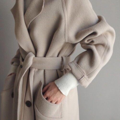 Women Trench Coat Lapel Cashmere Wool Blend Belt Outwear Oversize Parka Jacket