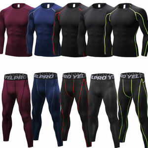 Men-039-s-Compression-Tights-Pants-Shirts-Athletic-Skin-Base-Layers-Cool-Dry-Wicking