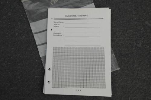 SEA Scubapro Logbuch Einlagen 12 Blatt DIN 6, 4 Loch Tauchplatzbeschreibung NEU