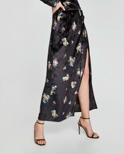 Wrap Size Black Uk Printed 10 Floral Bnwt Zara Dress Kimono Velvet S FxHCqFwnS