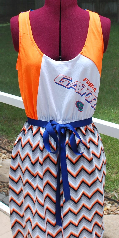 Florida Gators Florida Chevron Game Day Tank Dress Upcycled T-Shirts M