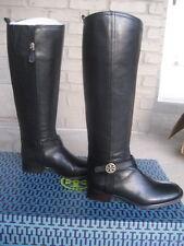 NIB Tory Burch Bristol Black Gold Leather Riding Boots Tall Size 11