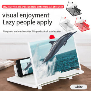 "12"" Mobile Phone Screen Magnifier Folding Stand Bracket HD 3D Video Amplifier US"