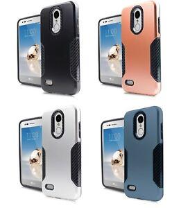 uk availability 8aa8c 53f11 Details about For LG Rebel 4 LML212VL / LML211BL Slim Carbon Metallic  Hybrid Case Cover