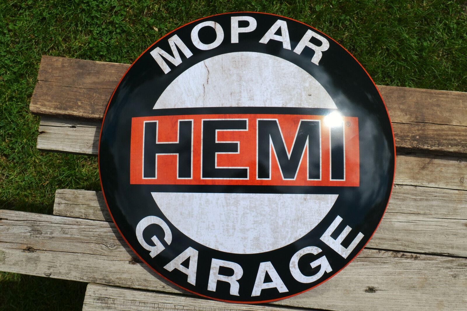 MOPAR Hemi Garage Embossed Shaped Metal Sign