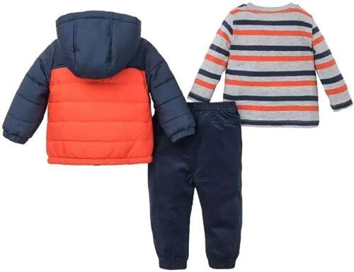 Little Me Baby Boys/' 3 Piece Hooded Jacket and Pant Set Navy//Orange