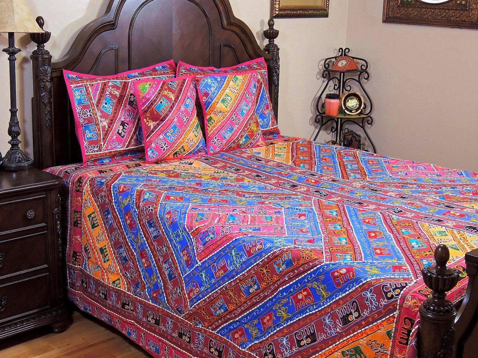 Aari Elephant Embroiderot MultiFarbe Duvet Ethnic Indian Sari Bedspread King