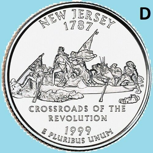 1999 D New Jersey State Quarter Statehood ~ UNC 2nd