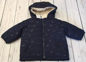 b141037a4719 Baby Gap Boys 3-6 Months Navy Blue Dinosaur Fleece Lined Puffer Coat ...