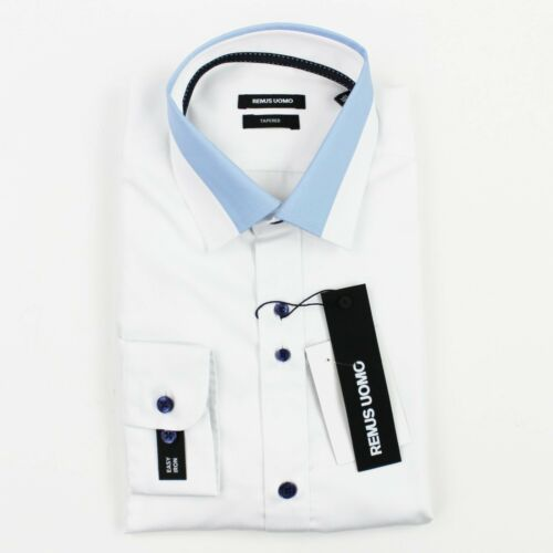 Remus Uomo RRP £55 Tapered Fit Shirt in White w// Blue Trim 15.5//39