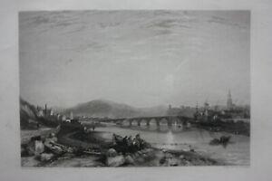 BERWICK-UPON-TWEED-BERWICK-original-antique-Victorian-print-Finden-c-1841
