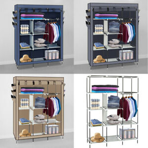 US-Portable-Closet-Storage-Organizer-Clothes-Wardrobe-Shoe-Rack-Shelves-w-Shelf