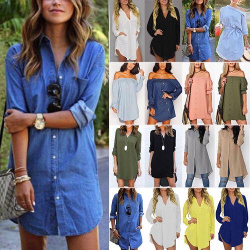 Women V Neck Long Sleeve Button Top T-Shirt Summer Casual Loose Short Mini Dress