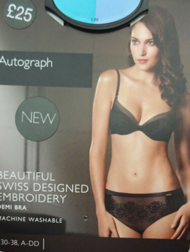 M /& S AUTOGRAPH LACE DEMI BRA  BLACK SWISS DESIGNED EMBROIDERY MARKS /& SPENCER