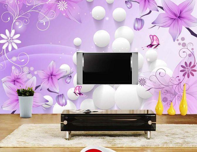 3D La Palla, di Fiori  Parete Murale Carta da parati immagine sfondo muro stampa