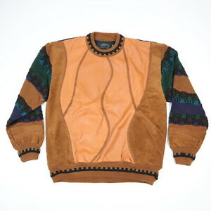 VTG-90s-Sachsen-Texturiert-Pullover-Leder-amp-Acryl-3d-Biggie-Bill-Cosby-Hip-Hop-XL