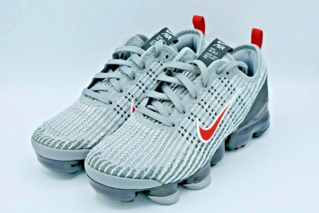 Nike Air VaporMax Flyknit 3 GS Particle Grey University Red Size 5Y BQ5238-006